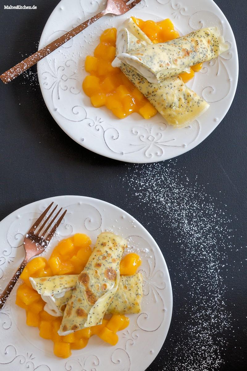 Mohn-Crepes mit Mango und Quark