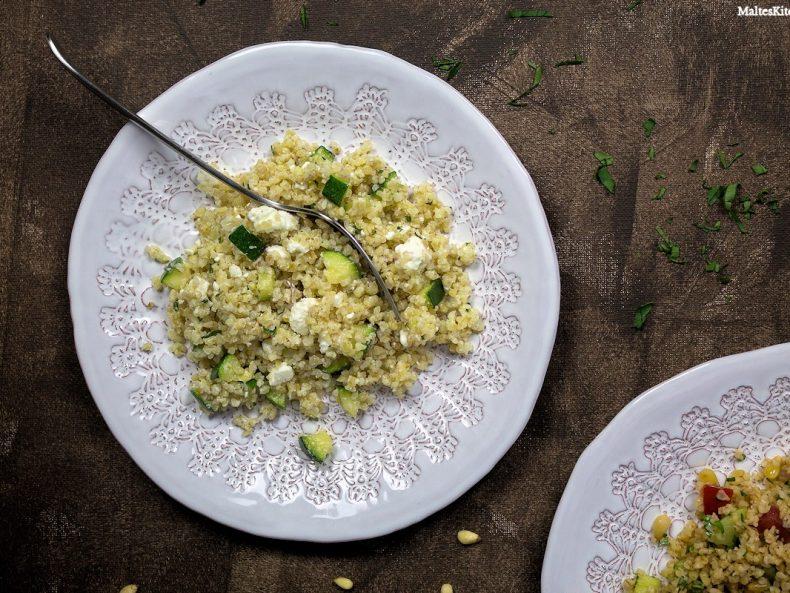 Rezept für Tabouleh mit Zucchini, Feta und Minze