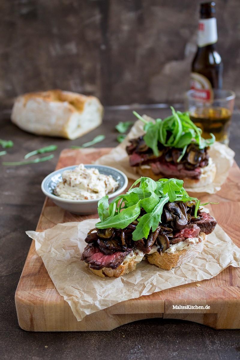 Ein Sandwich mit saftigem Flanksteak, würzigen Champignons und cremiger Portweinbutter