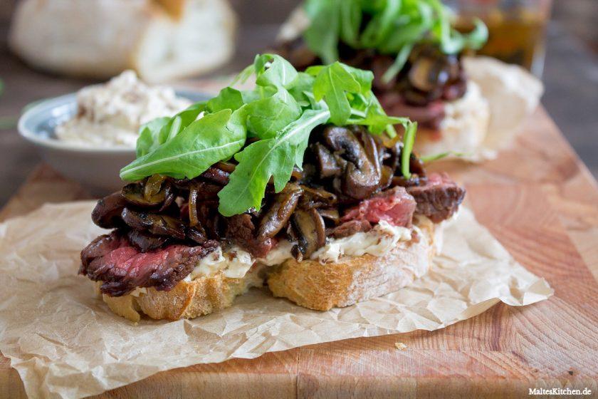 Rezept für ein Flanksteak-Sandwich mit Champignons & Portweinbutter