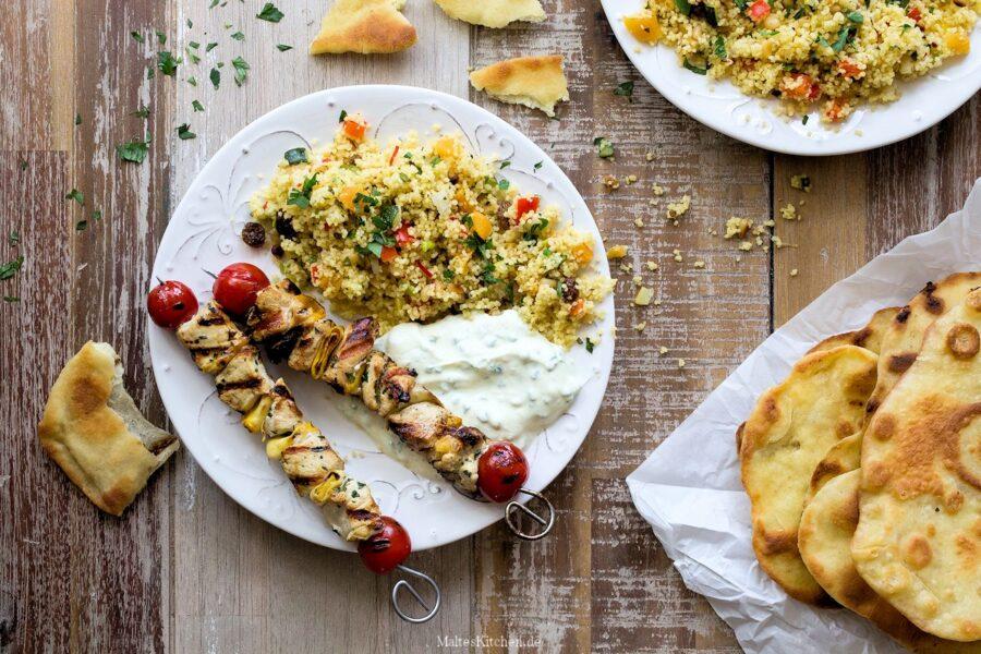 Rezept für Hähnchenspieße mit Couscous