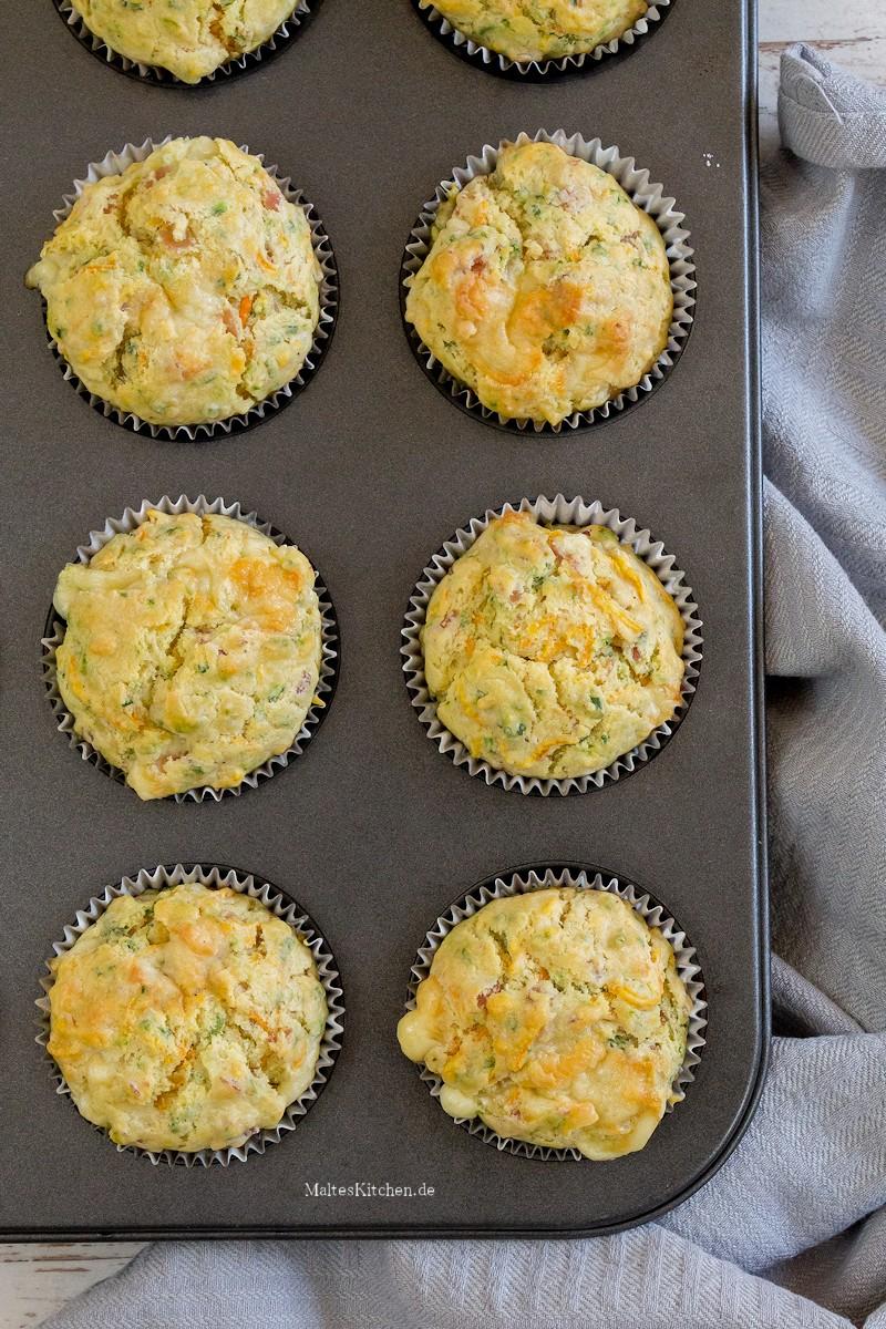Die Schinken-Käse-Muffins nach dem backen