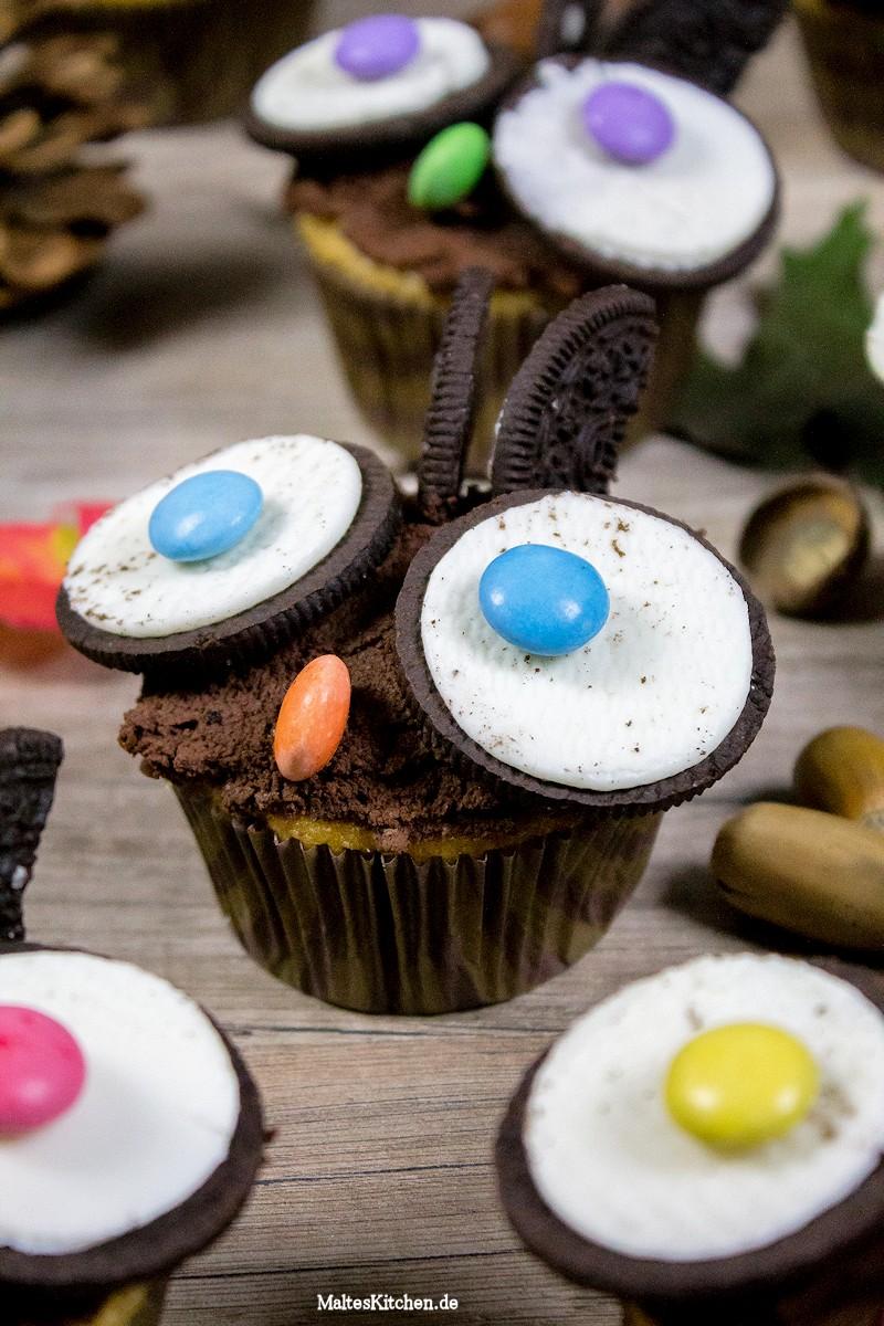 Muffin Eulen mit Oreokeksen und Smarties
