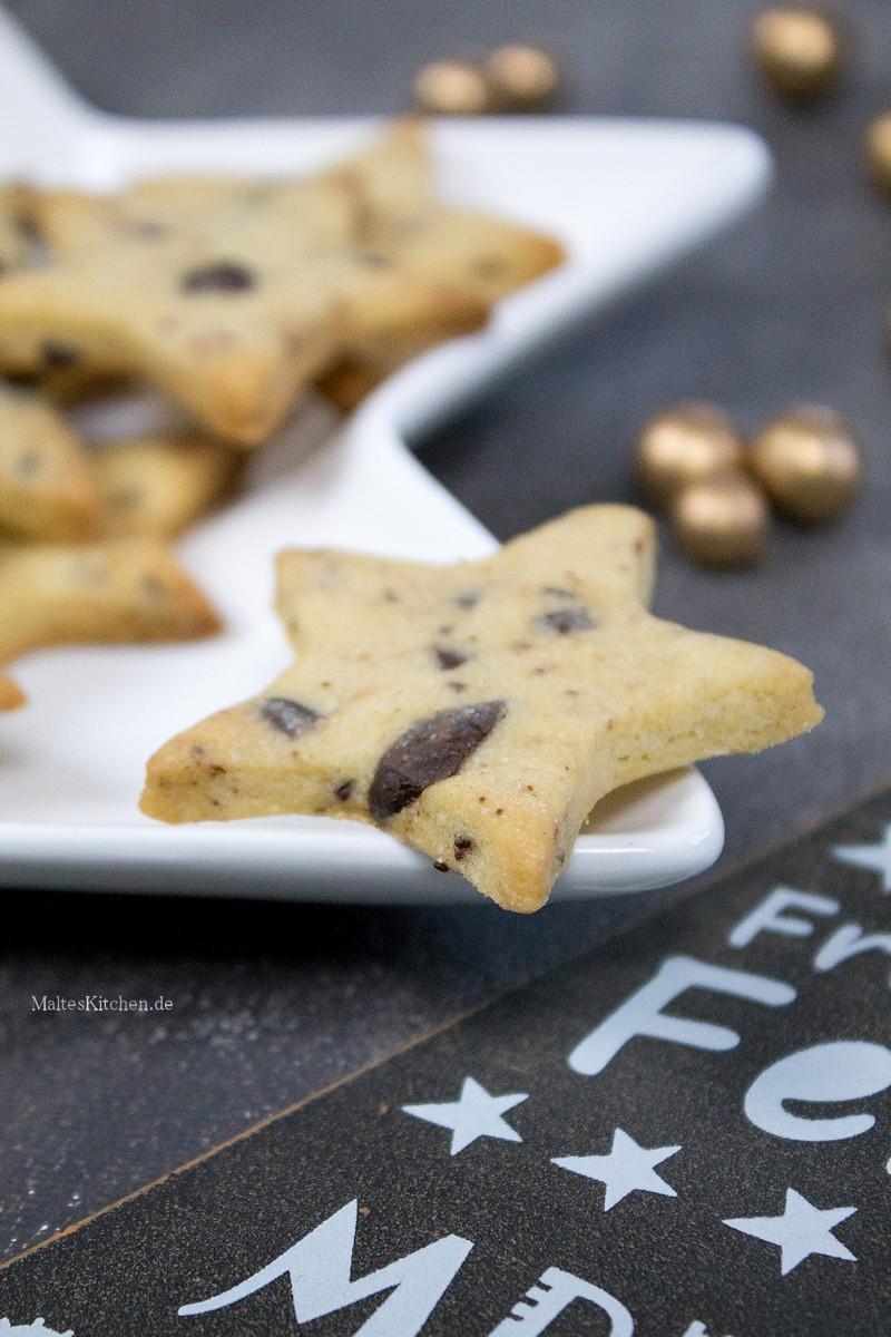 Weihnachtsplätzchen Mit Schokolade.Weihnachtsplätzchen Shortbread Sterne Mit Schokolade