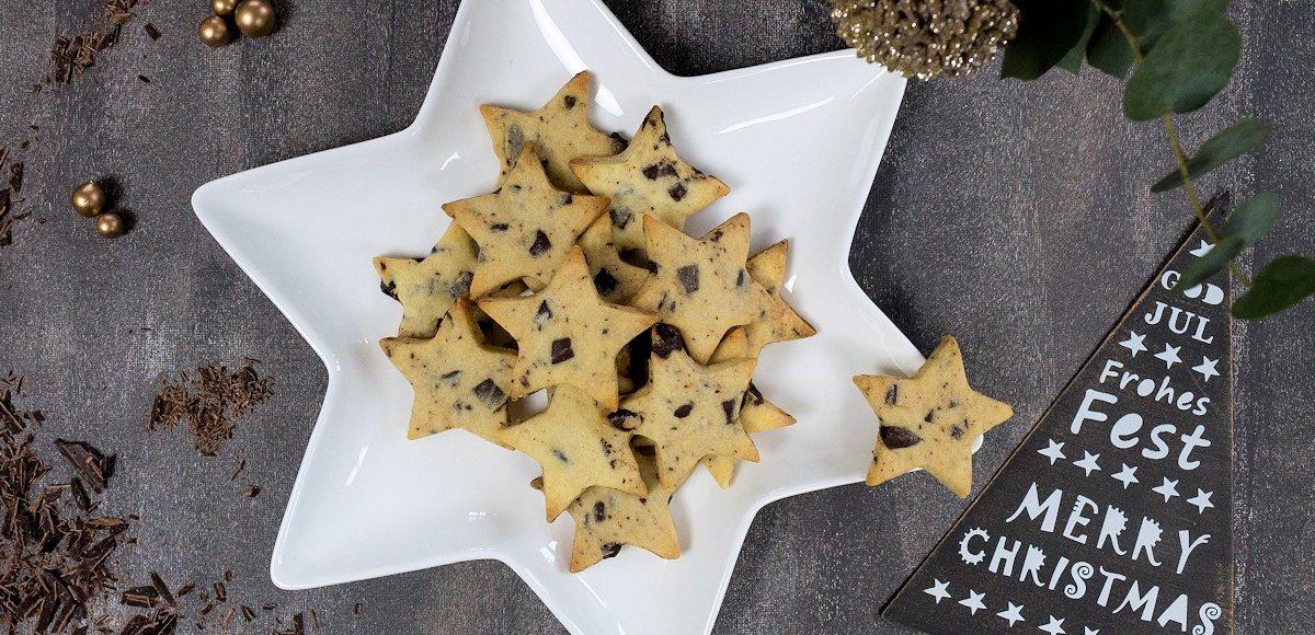 Lafer Weihnachtsplätzchen.Weihnachtsplätzchen Shortbread Sterne Mit Schokolade