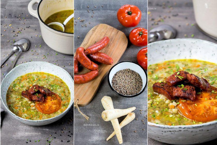 Rezept für eine Linsensuppe mit Chorizo