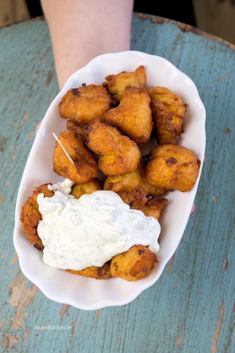 Knusprige Kartoffelkrapfen mit viel Speck