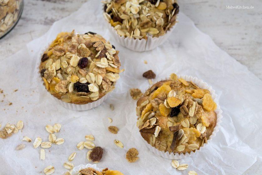 Rezept für Müsli-Muffins mit Birne & Zimt