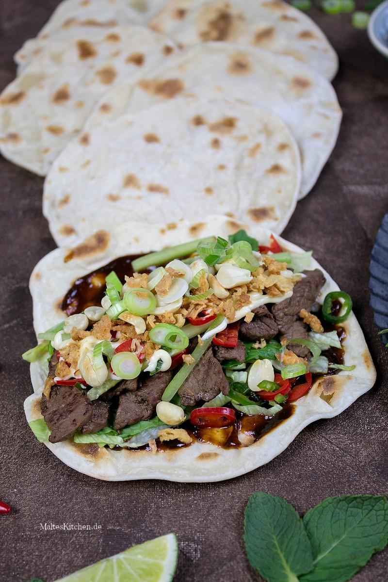 Lecker gefülltes Wrap mit Rindfleisch