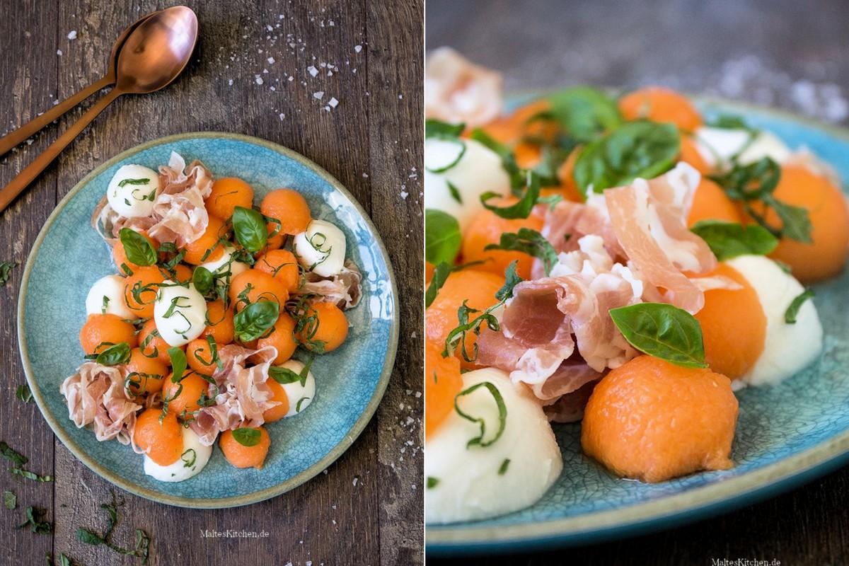 Melonen-Salat mit Mozzarella und Schinken, Minze und Basilikum