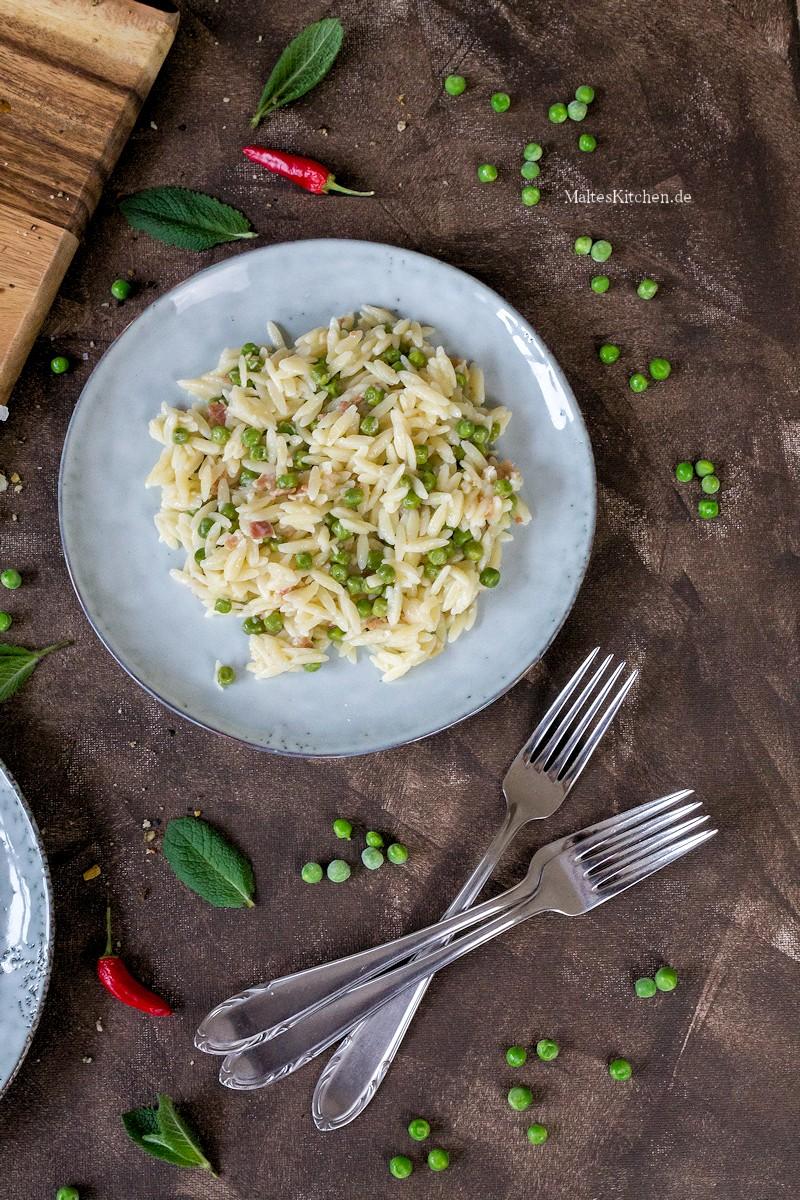 Orza mit Erbsen und Pancetta