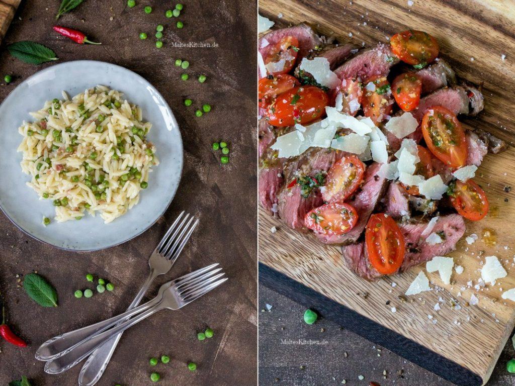 Rezept Risoni mir Pancetta und Erbsen und Tagliata
