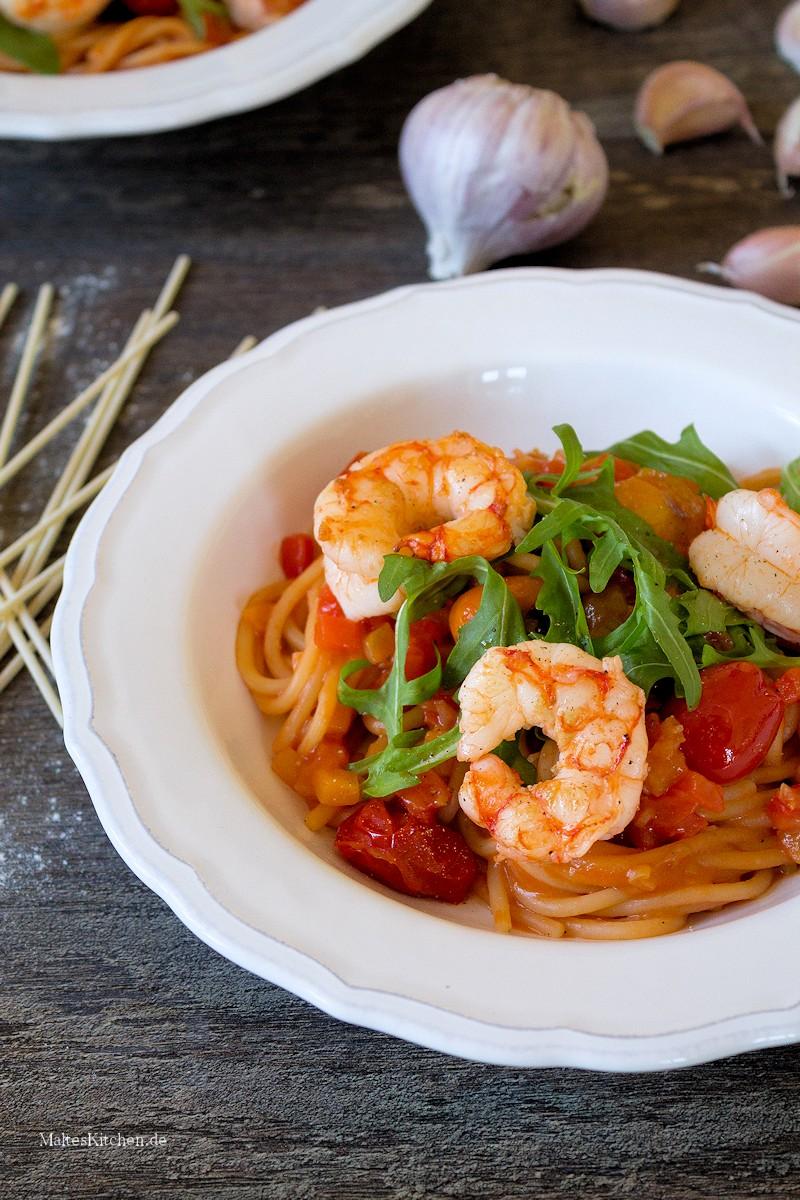 Knackige Garnelen in Paprikasauce mit Spaghetti