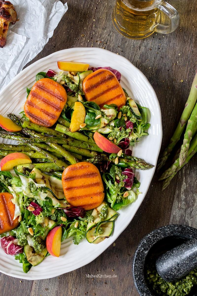Spargel, Grillkäse Zucchini Salat