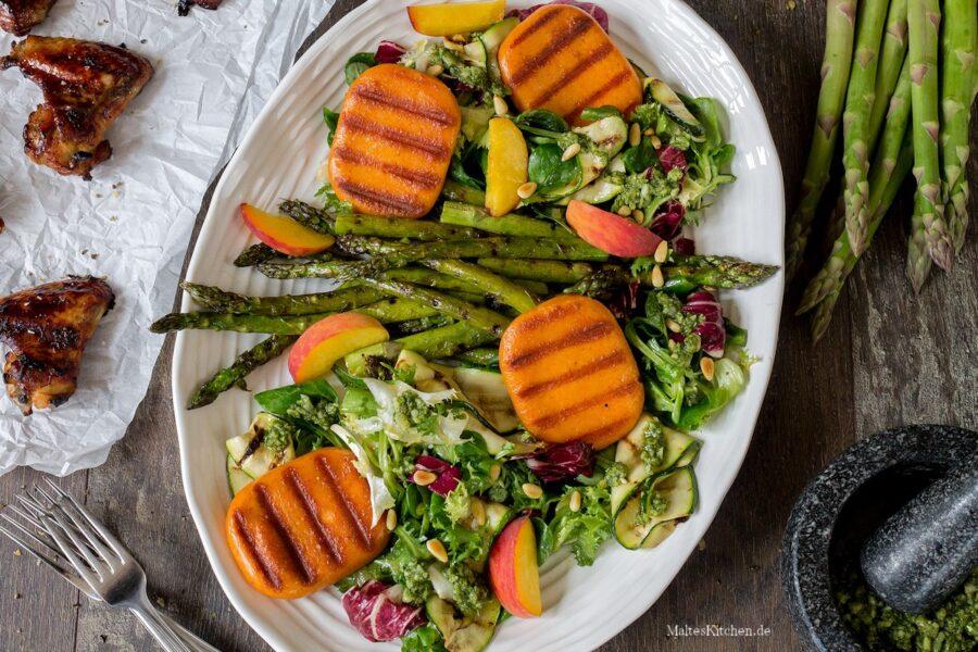 Rezept Spargelsalat mit Pfirsichen und Grill Talern