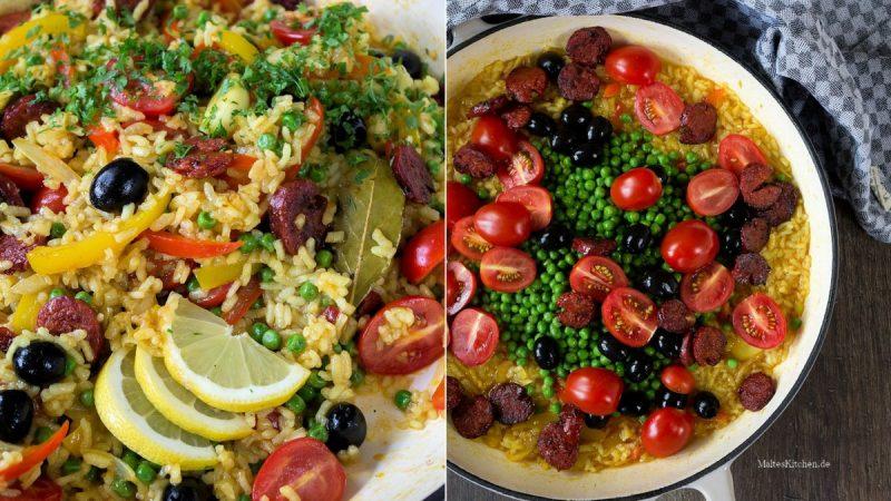 Rezept für eine Gemüse Paella mit Chorizo