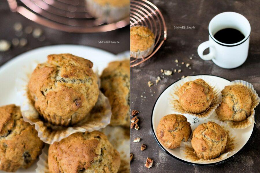 Rezept für Bananen-Muffins mit Pecannüssen