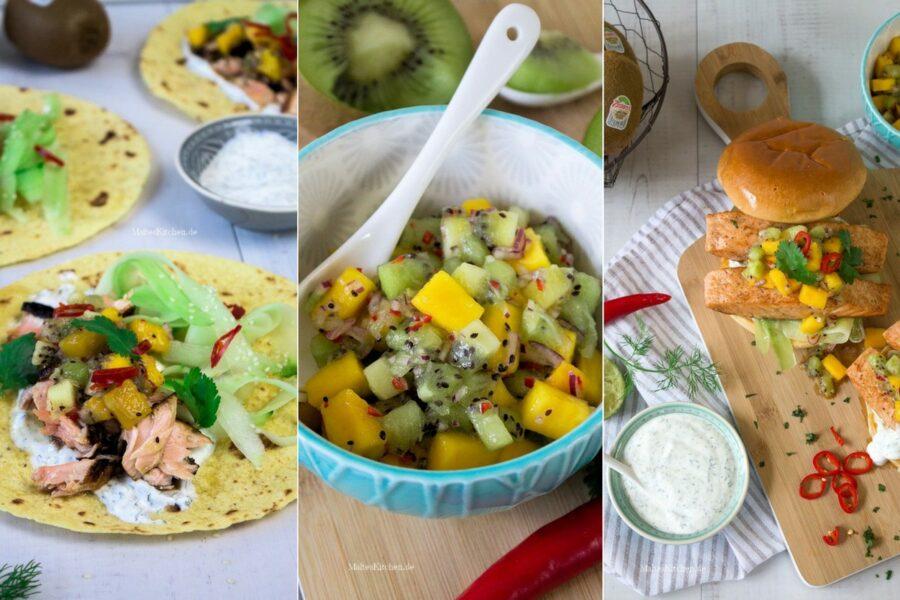 Rezept für Wraps mit Lachs und Kiwi-Mango-Salsa