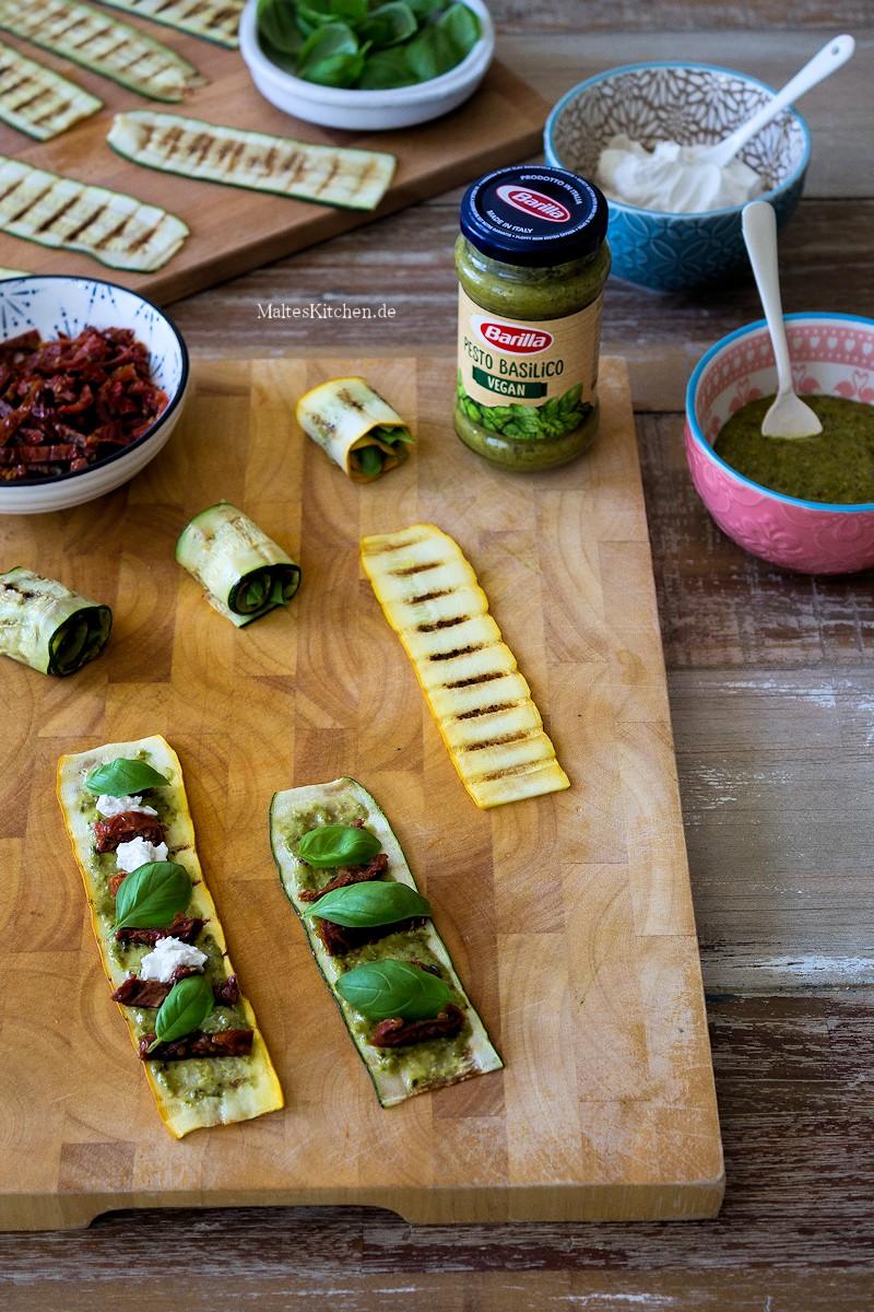 Zucchini Involtini mit Pesto