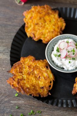 Kartoffel-Kürbis-Puffer mit Dip