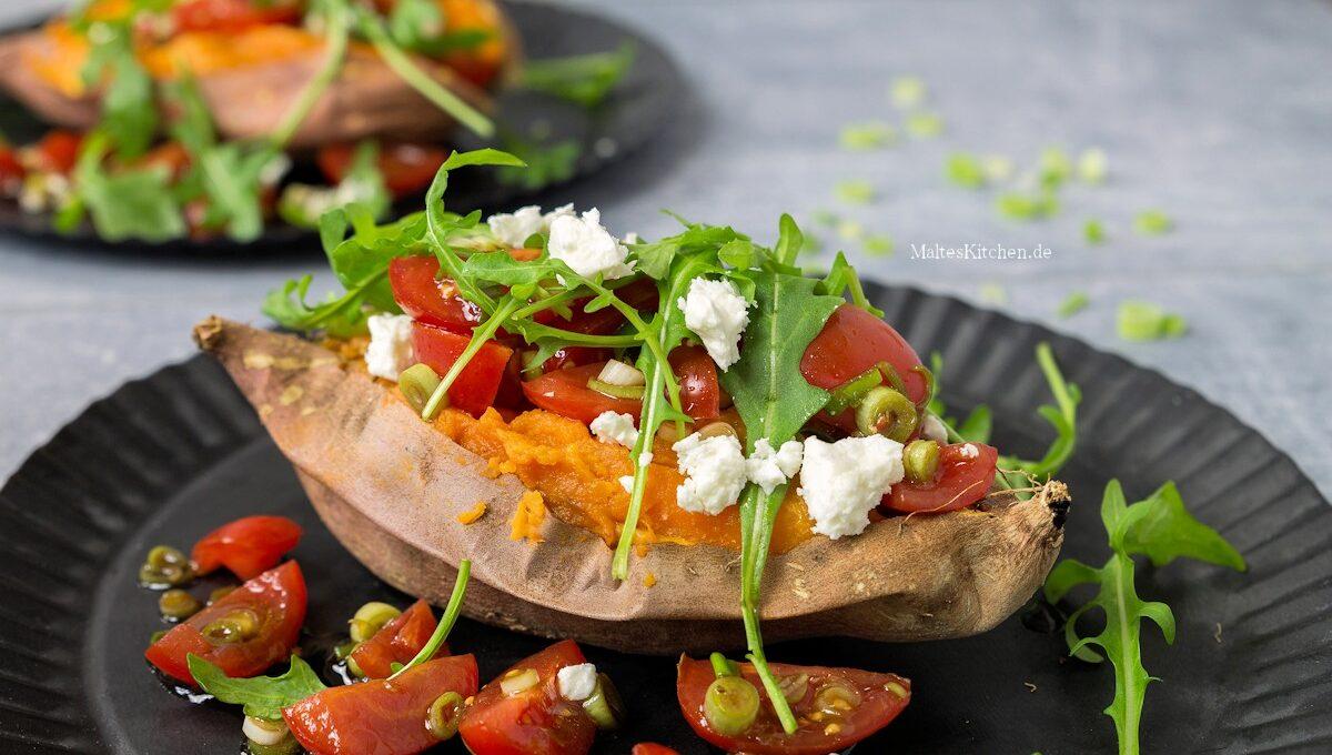 Rezept für Süßkartoffeln mit Tomaten und Feta