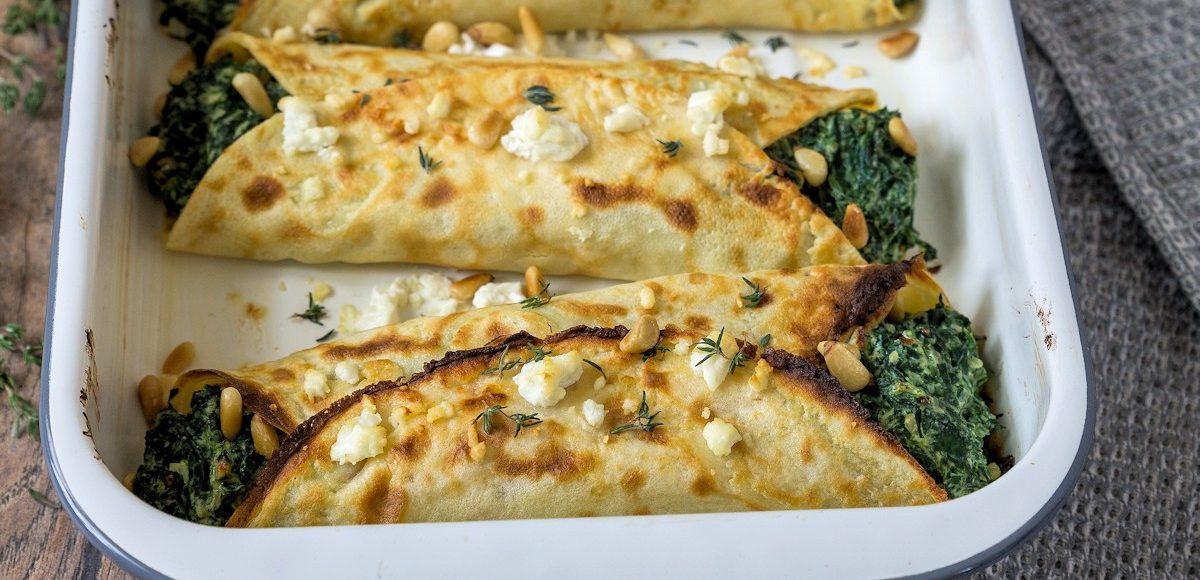 Rezept für Pfannkuchen mit Spinat-Ricotta Füllung