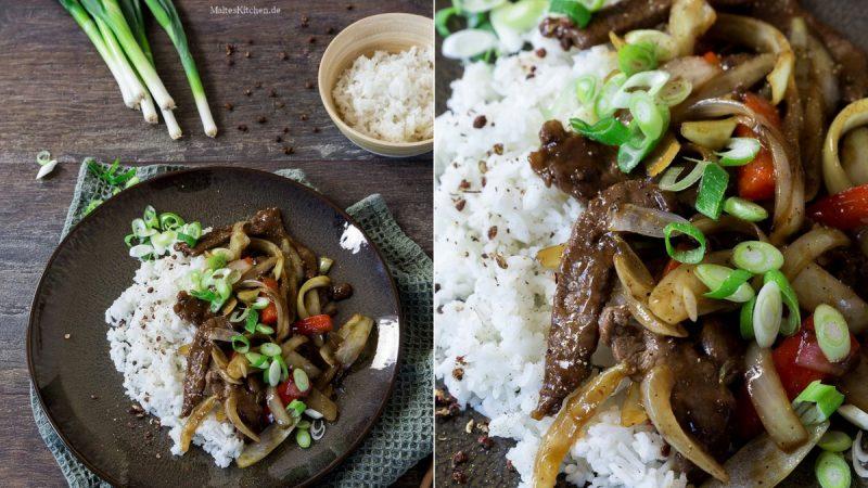 Rezept Rindfleisch mit Zwiebeln