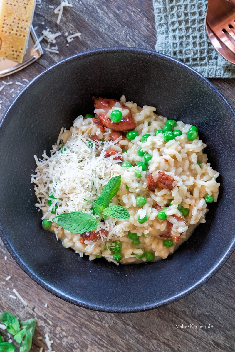 Risotto mit Chorizo und Erbsen