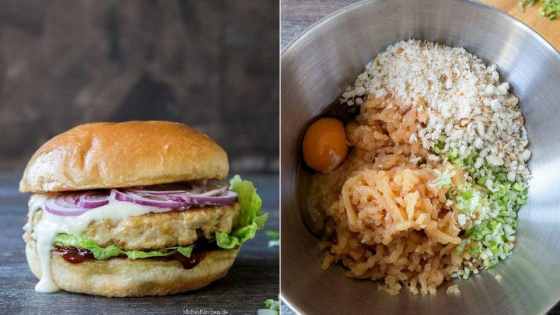 Rezept Chickenburger mit Wasabi-Ketchup und Orangen-Mayo