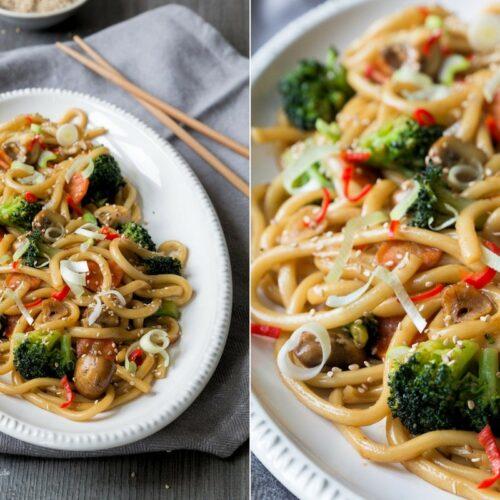 Rezept würzige Udon Nudeln mit Gemüse