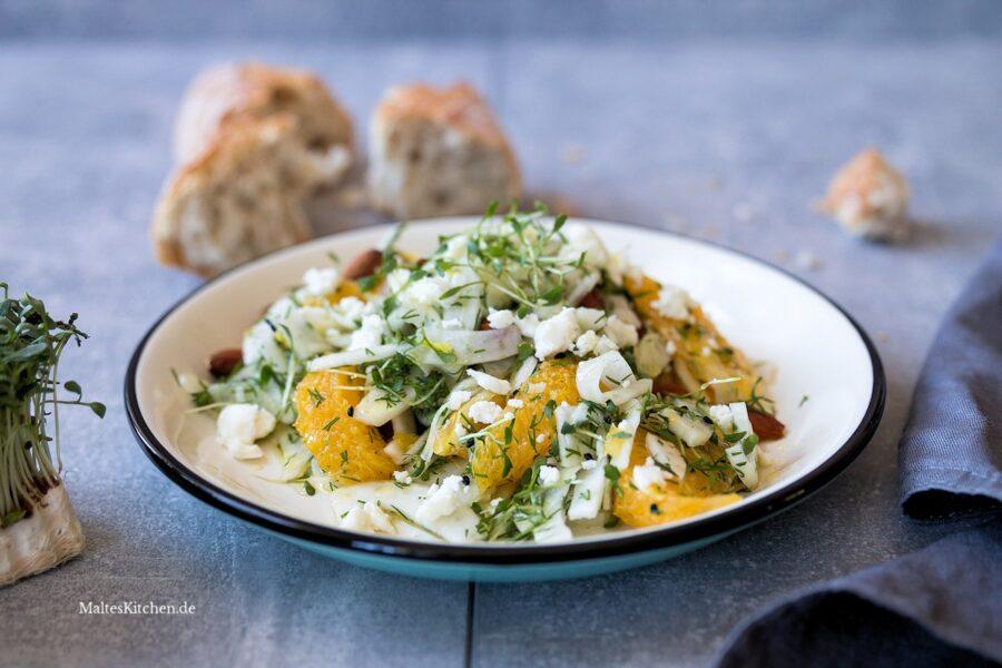 Rezept für einen Fenchelsalat mit Orange und Mandeln