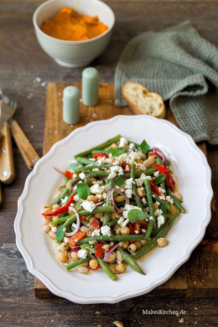 Leckerer Bohnensalat mit Fetakäse
