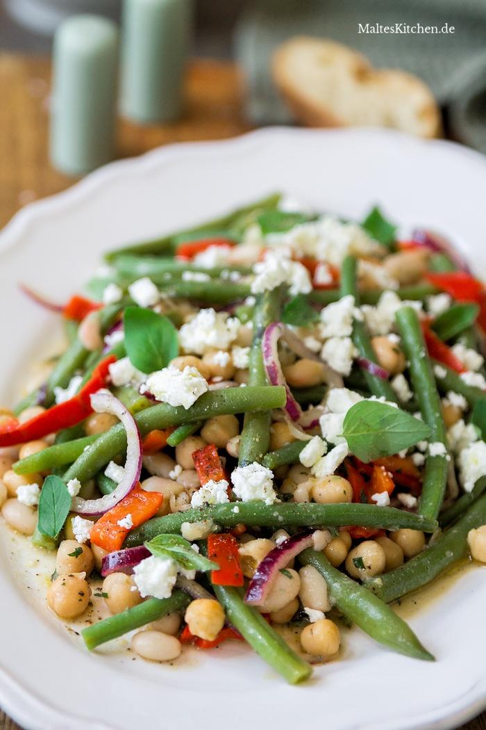 Leckerer Bohnensalat mit Keniabohnen und Fetakäse