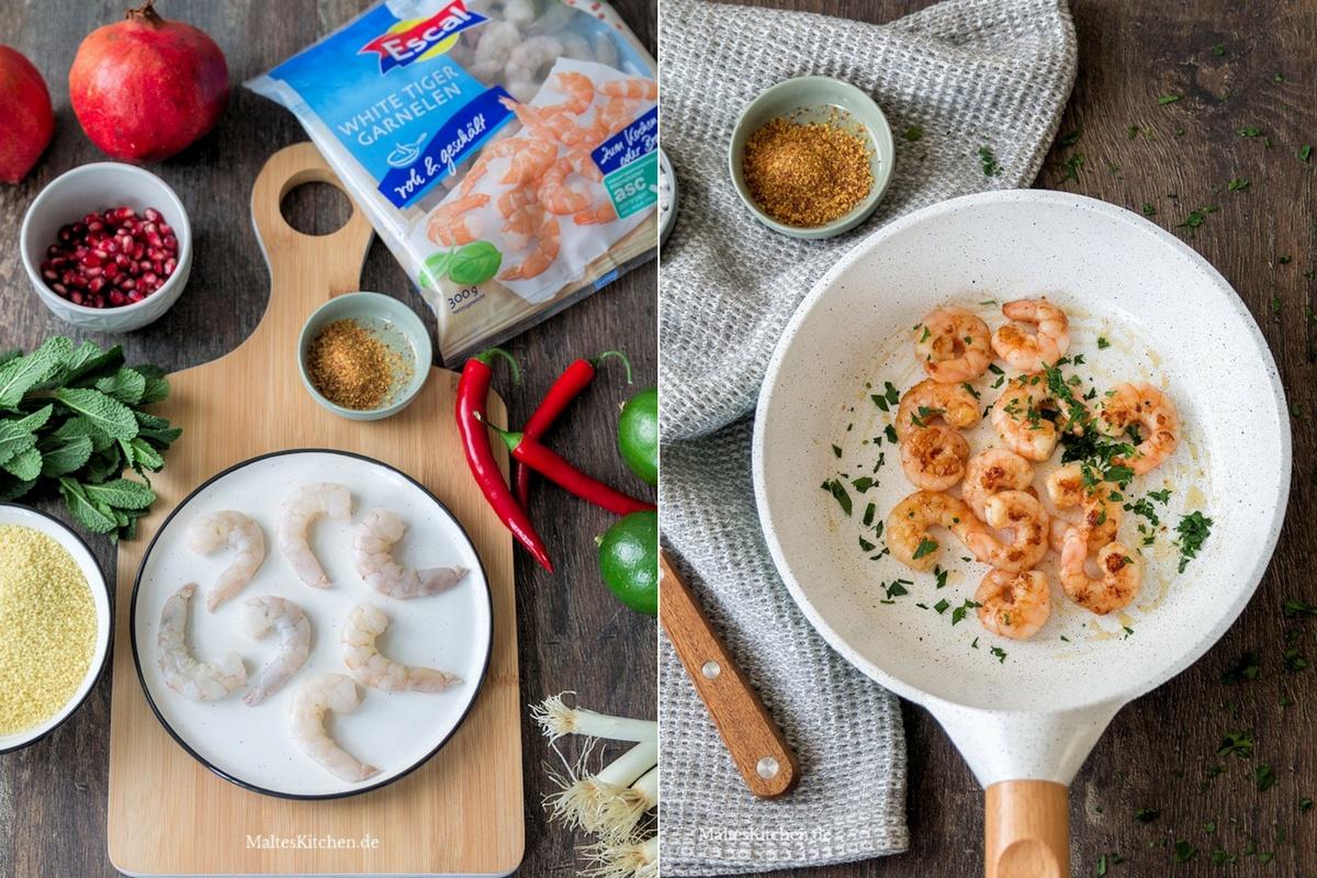 Zutaten für den Couscous mit Escal White Tiger Garnelen