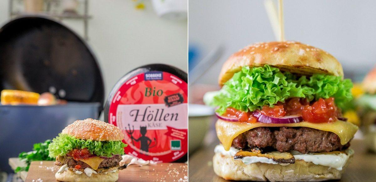 Rezept Beef Burger mit Kräuterseitlingen, Höllenkäse, Tomaten-Salsa