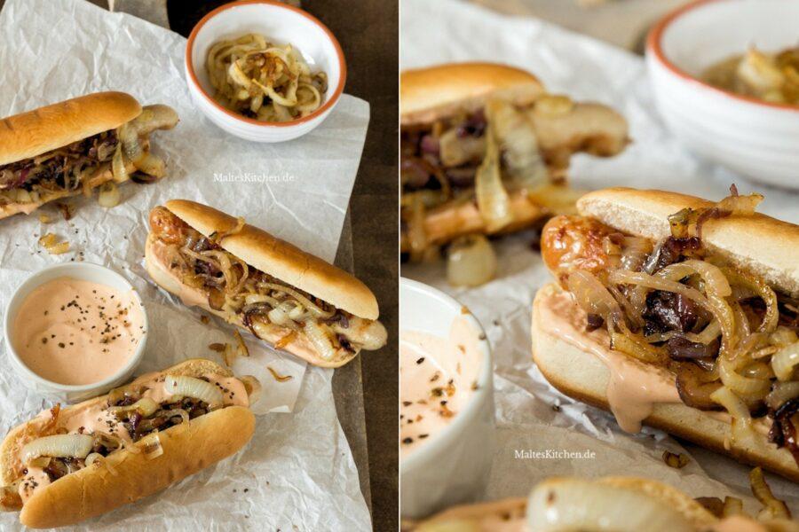Rezept Hot Dogs mit Bratwurst, Hot Dog Sauce und gegrillten Zwiebeln