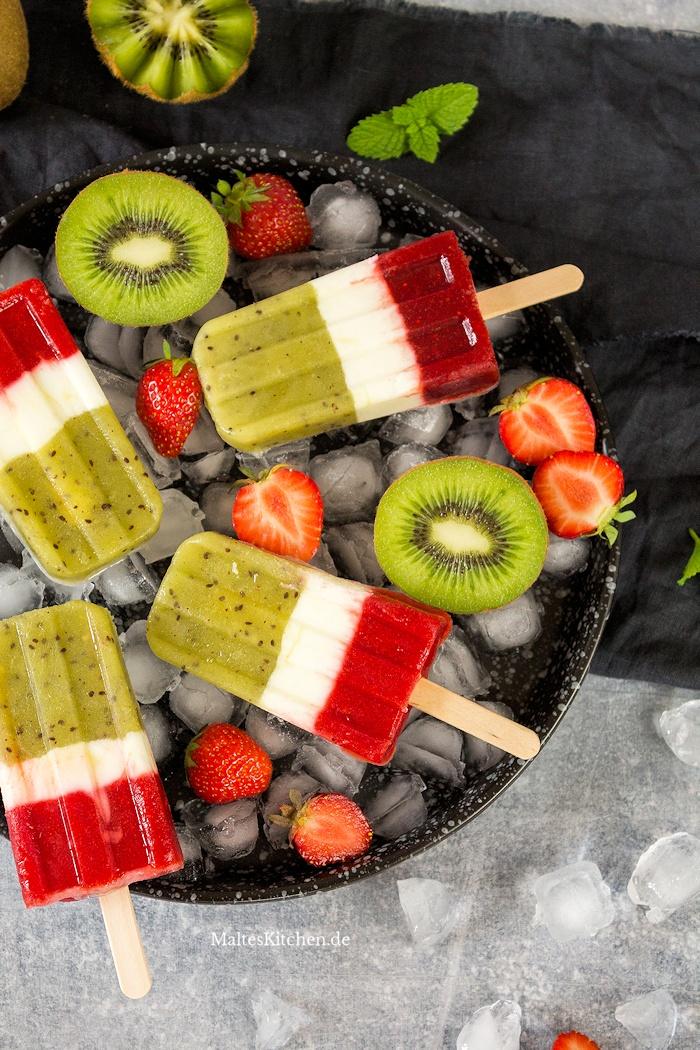 Leckeres Eis mit Zespri Kiwi und Erdbeeren