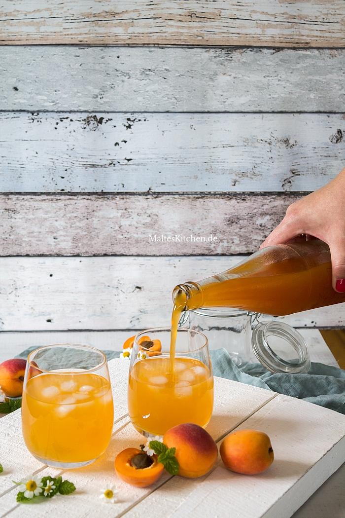 Selbstgemachter Aprikosen-Eistee
