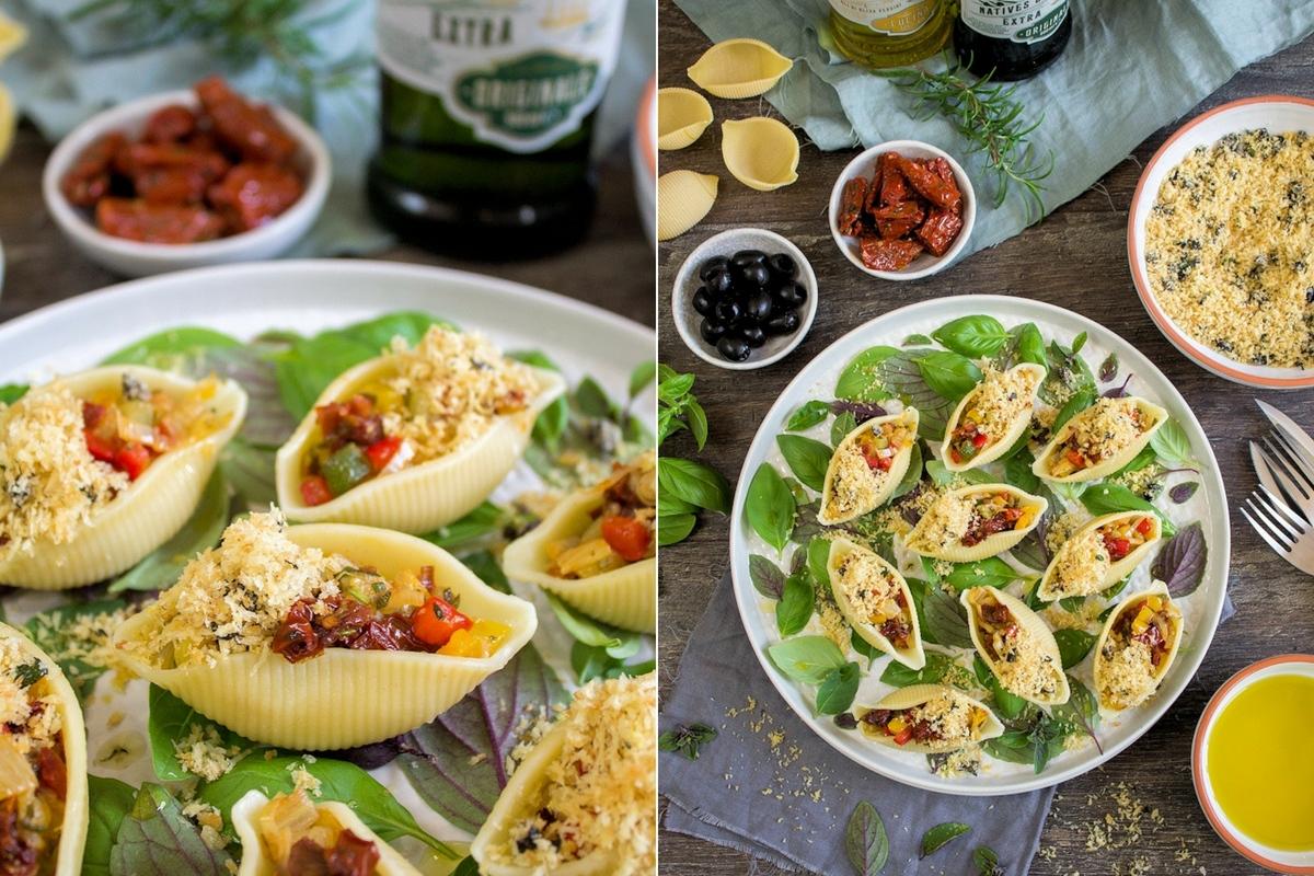 Rezept für Conchiglioni mit mediterranem Gemüse und Oliven-Thymian-Bröseln