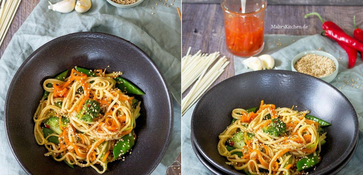 Rezept Nudelns aus dem Wok mit Gemüse, süß-sauer
