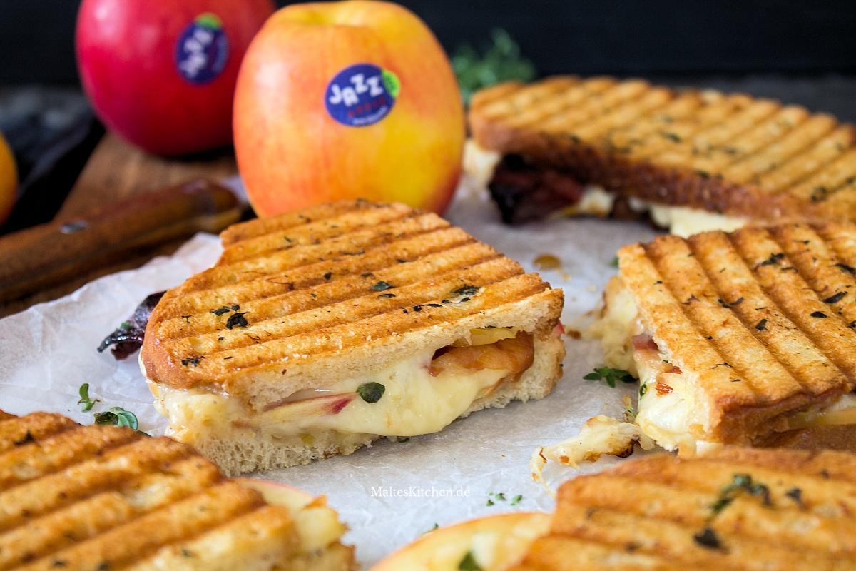 Rezept für ein grilled Cheese Sandwich mit Äpfeln und Bacon
