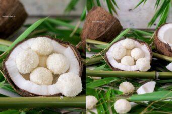 Rezept für Kokoseisbällchen mit Kokosflocken