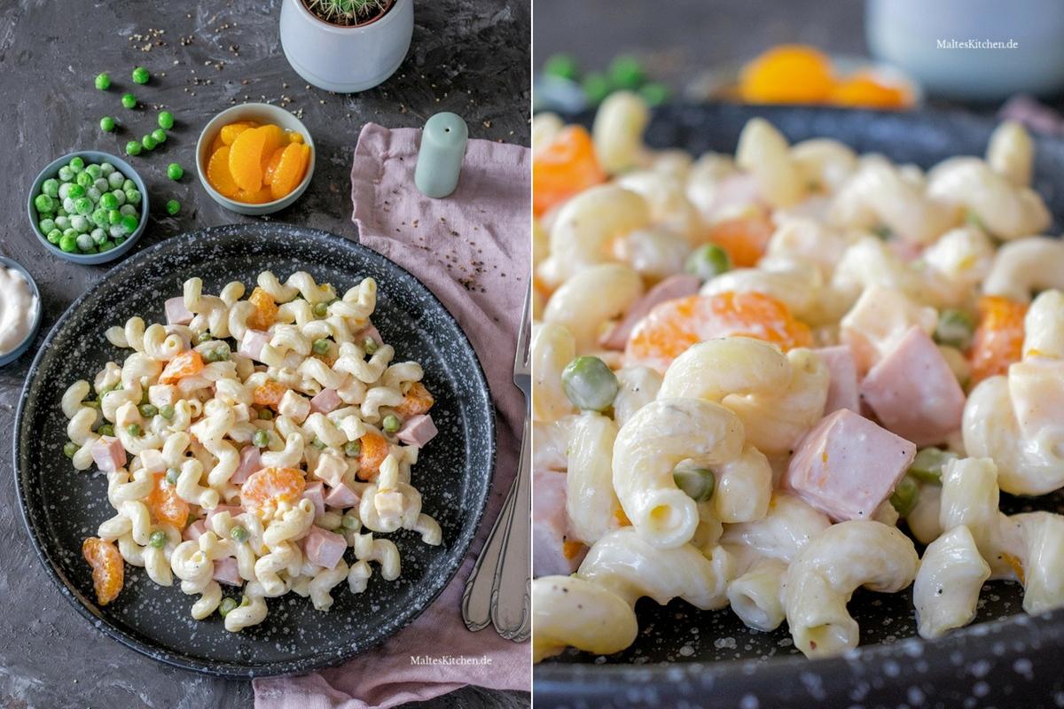 Rezept Nudelsalat mit Mandarinen, Erbsen, Fleischwurst und Käse