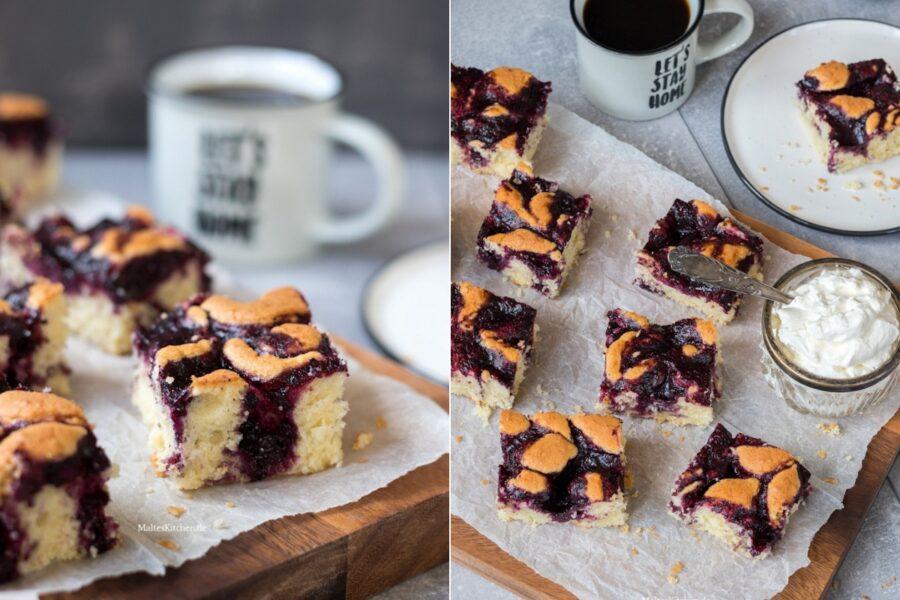 Rezept für einen einfachen Blaubeer-Kokos-Blechkuchen
