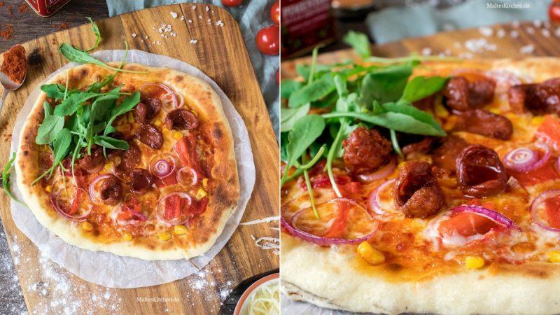 Rezept für Pizza mit Chorizo, Paprika und Mais