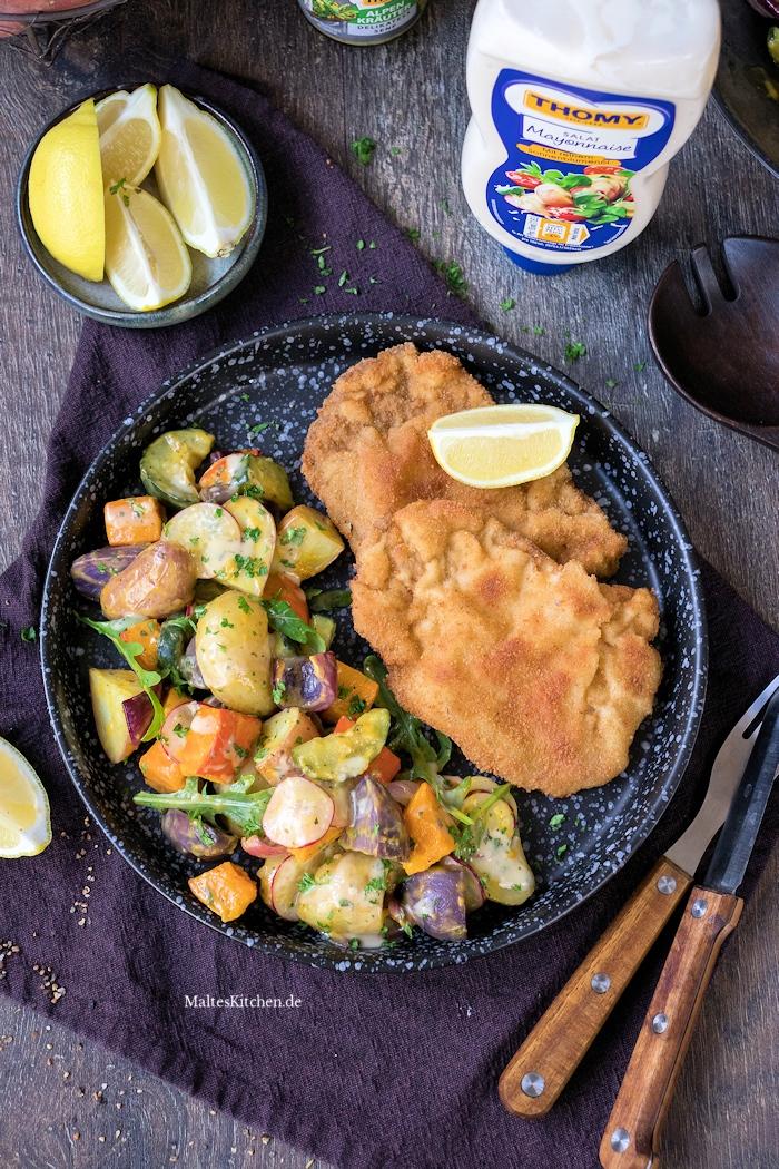 Leckeres Schnitzel Wiener Art mit Kartoffel-Kürbis-Salat
