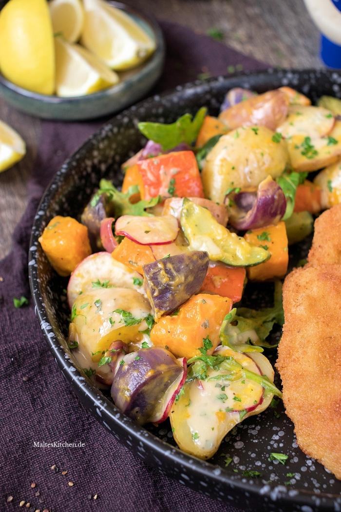 Super leckerer Kartoffel-Kürbis-Salat vom Blech