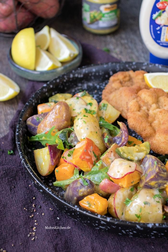 Kartoffelsalat vom Blech mit Kürbis und Thomy Salatmayonnaise