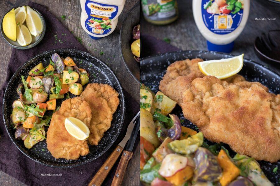 Rezept für einen Kartoffel-Kürbis-Salat vom Blech mit Schnitzel Wiener Art