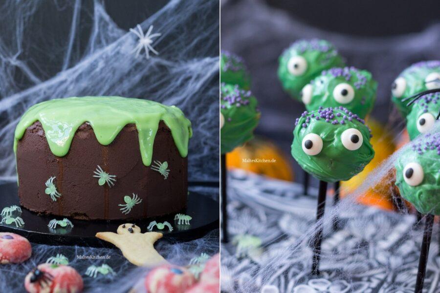 Halloween Rezepte Schleimkuchen und Monster Cake Pops